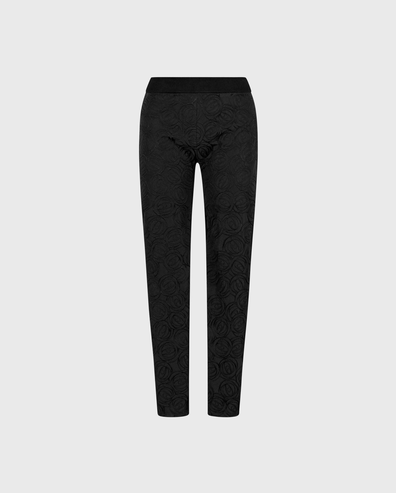 Comfort and luxury coincide with the AIKO black floral and milano knit leggings
