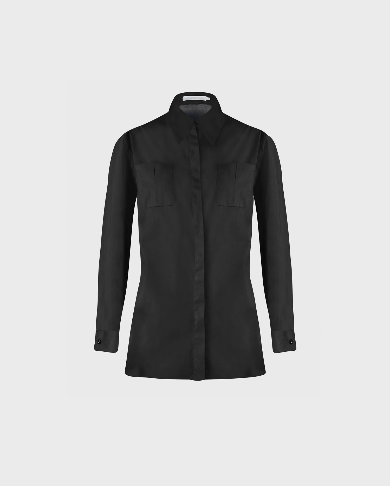 Anne Fontaine ALIANA Shirt: High-low black poplin shirt with detachable collar