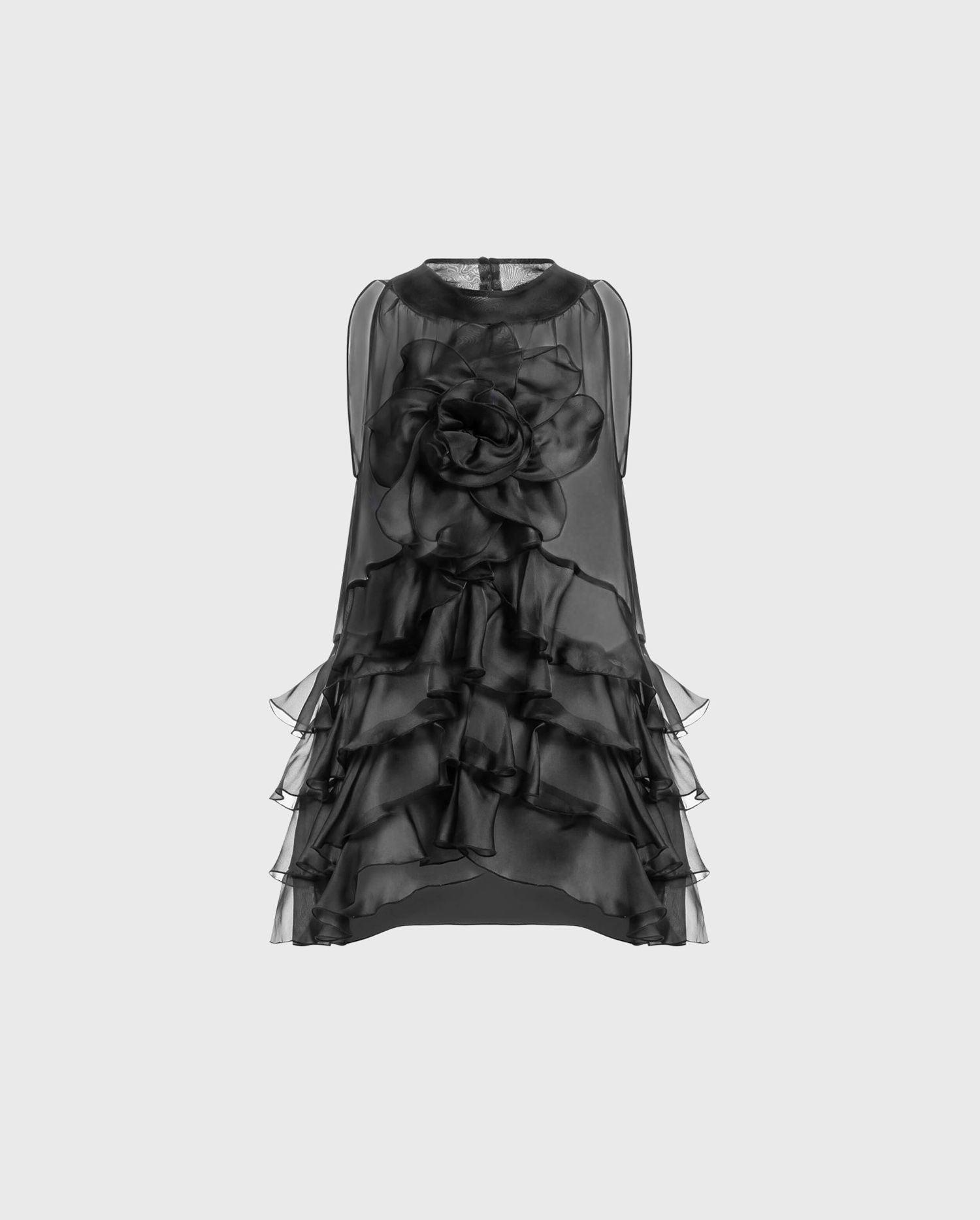 ANNE FONTAINE AUBREY Blouse: Black sleeveless blouse in layered silk organza