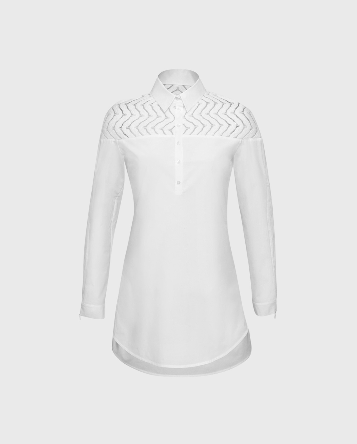 The Barbara white long sleeve shirt with intricate details will take youe style to new heights