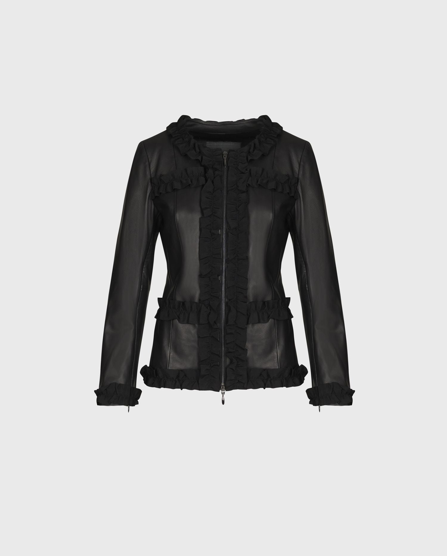 Rocker chic takes center stage this season with CARTER - a leather jacket with a feminine ruffle trim.