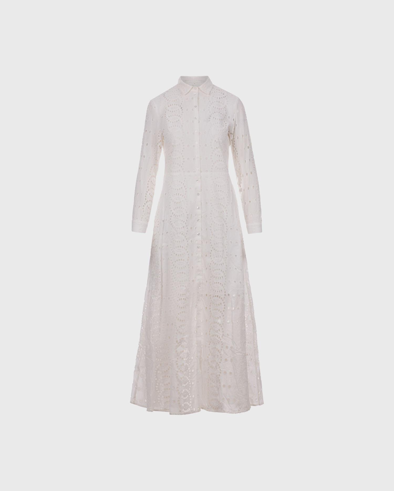 The Cascais white eyelet embroidery maxi dress to add your wardrobe.