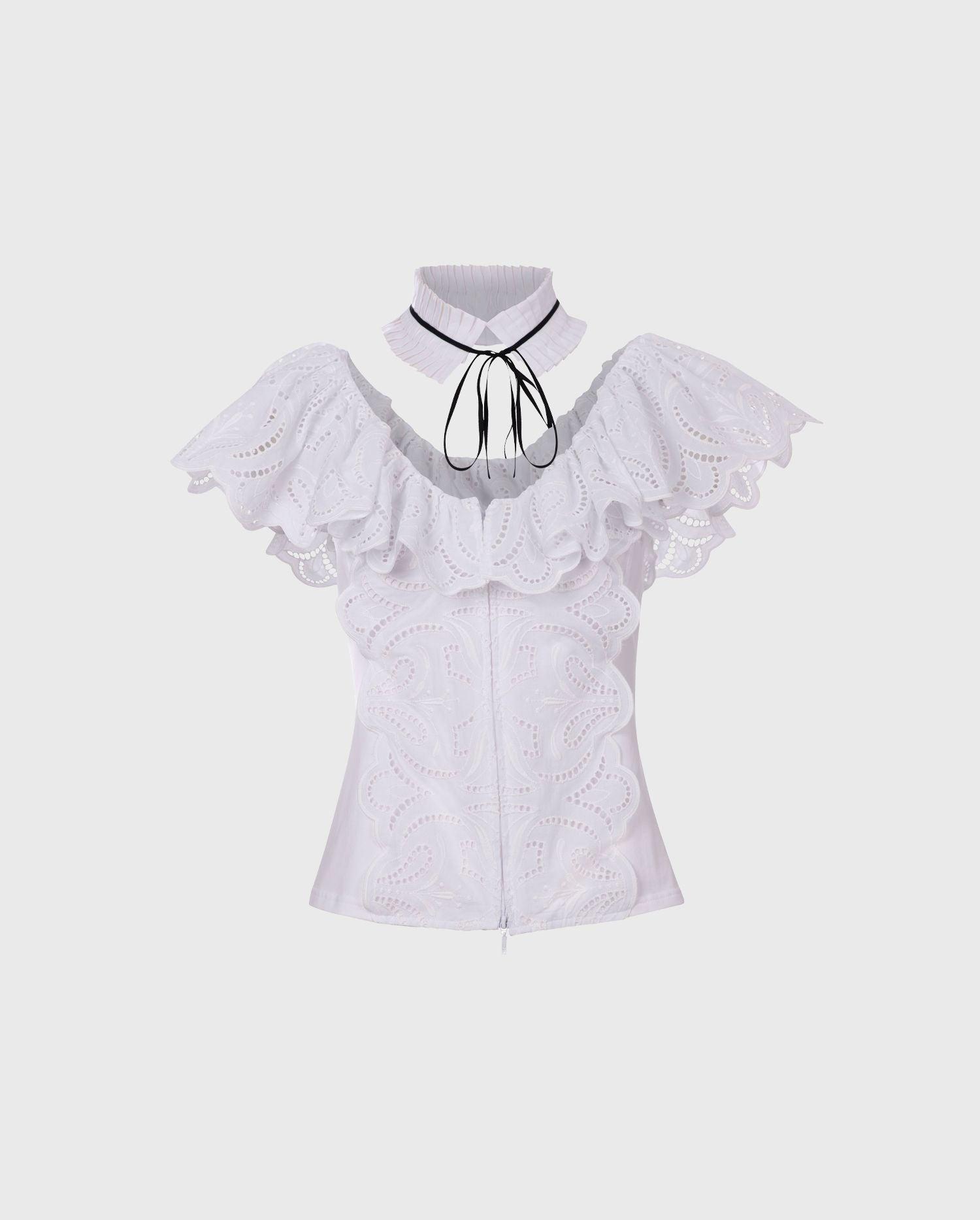 Anne Fontaine: CAYAN Shirt: Sleeveless shirt with eyelet ruffles