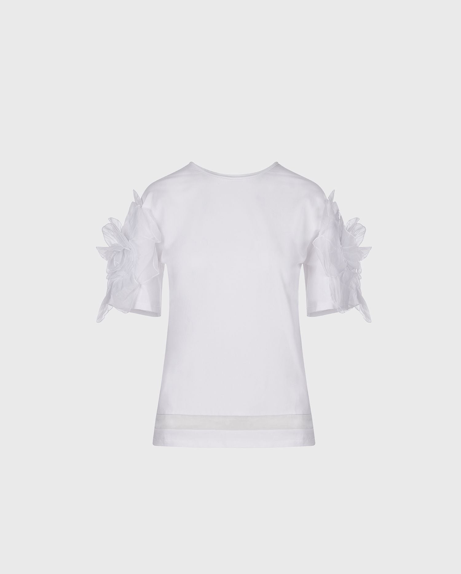 Anne Fontaine Colomba Shirt: White top with a scoop neckline and 3D flowers