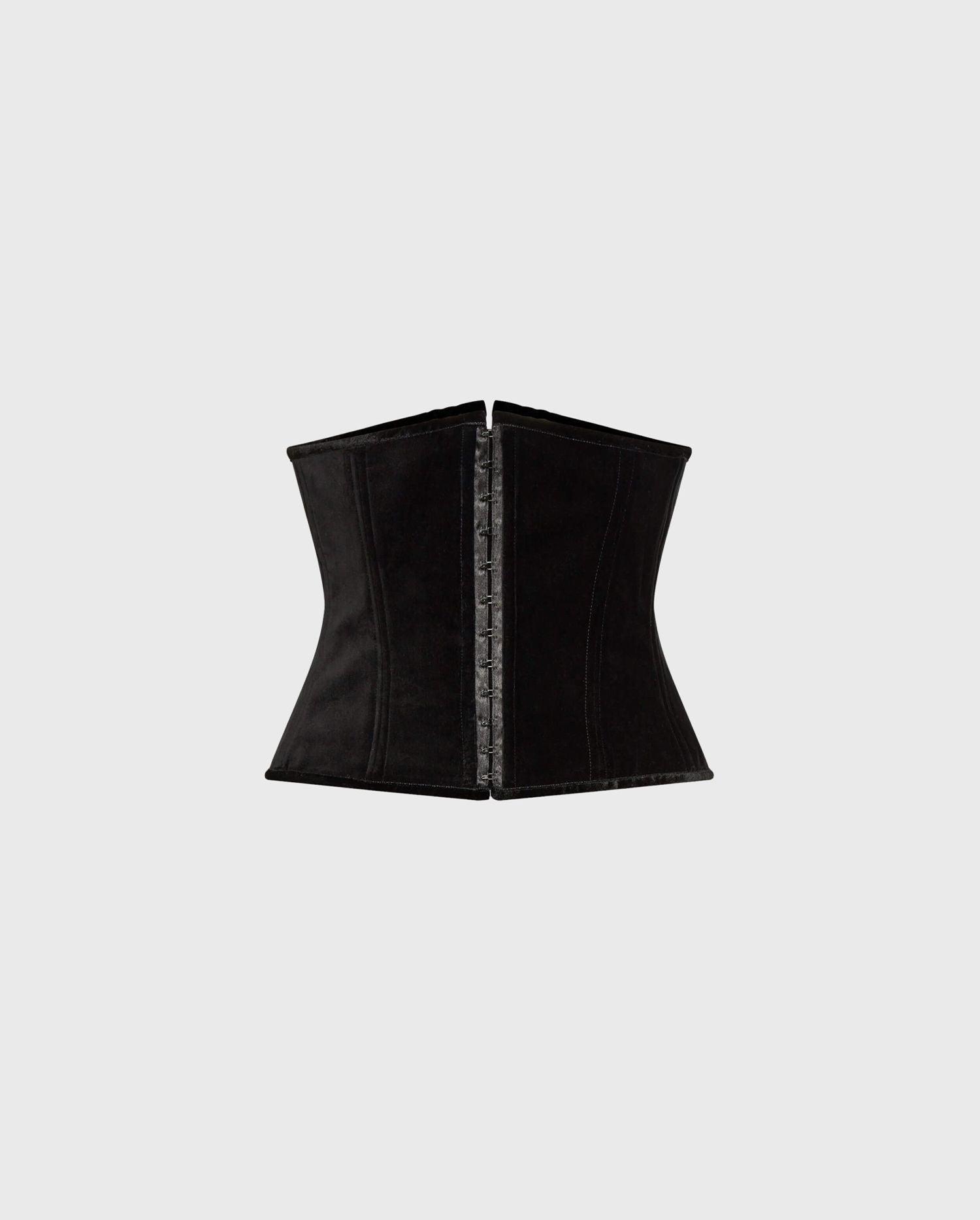 ELVIA : Wide Velvet Corset In Black | ANNE FONTAINE