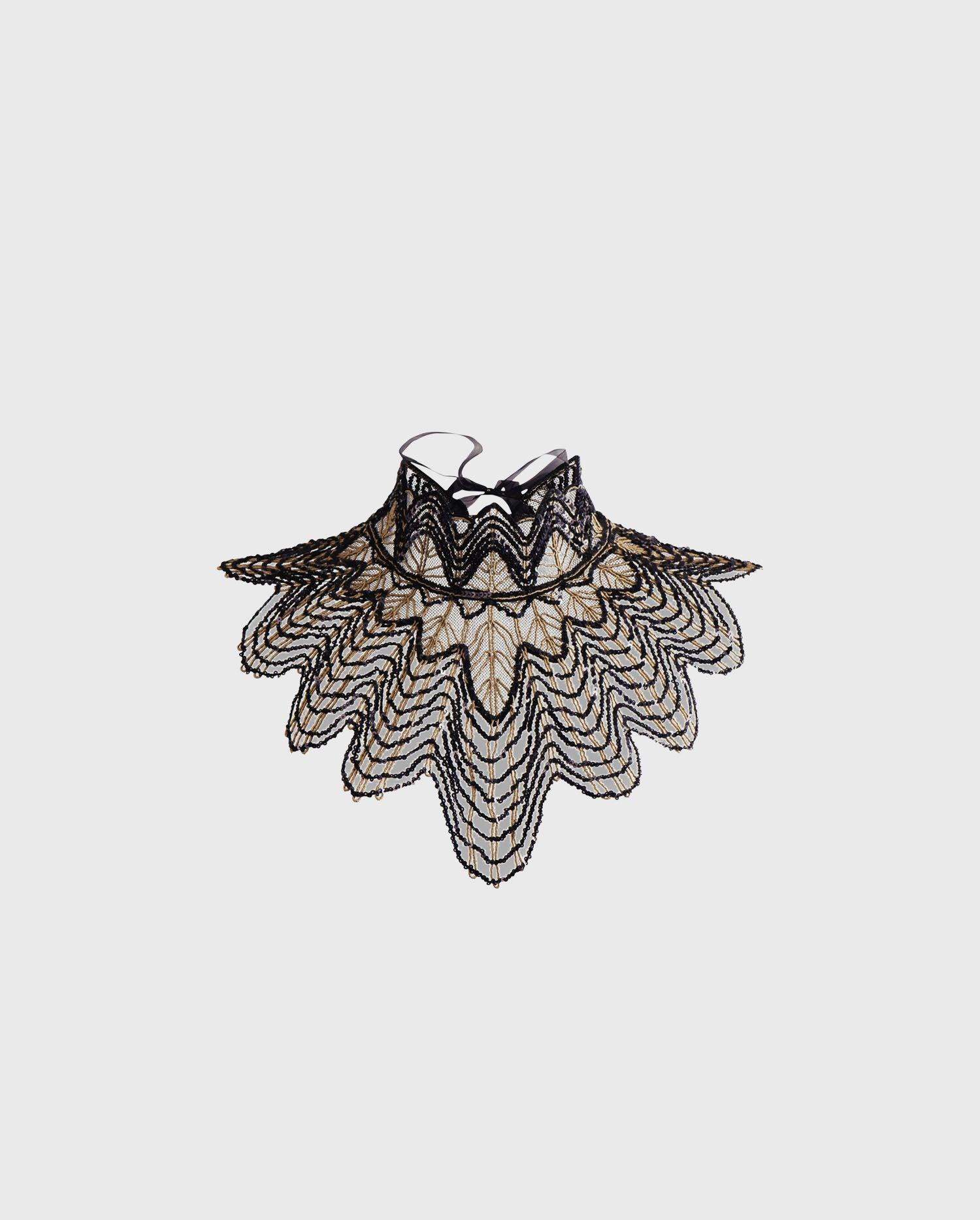 ANNE FONTAINE Fabie Collar: Sequin detailed handmade mesh collar