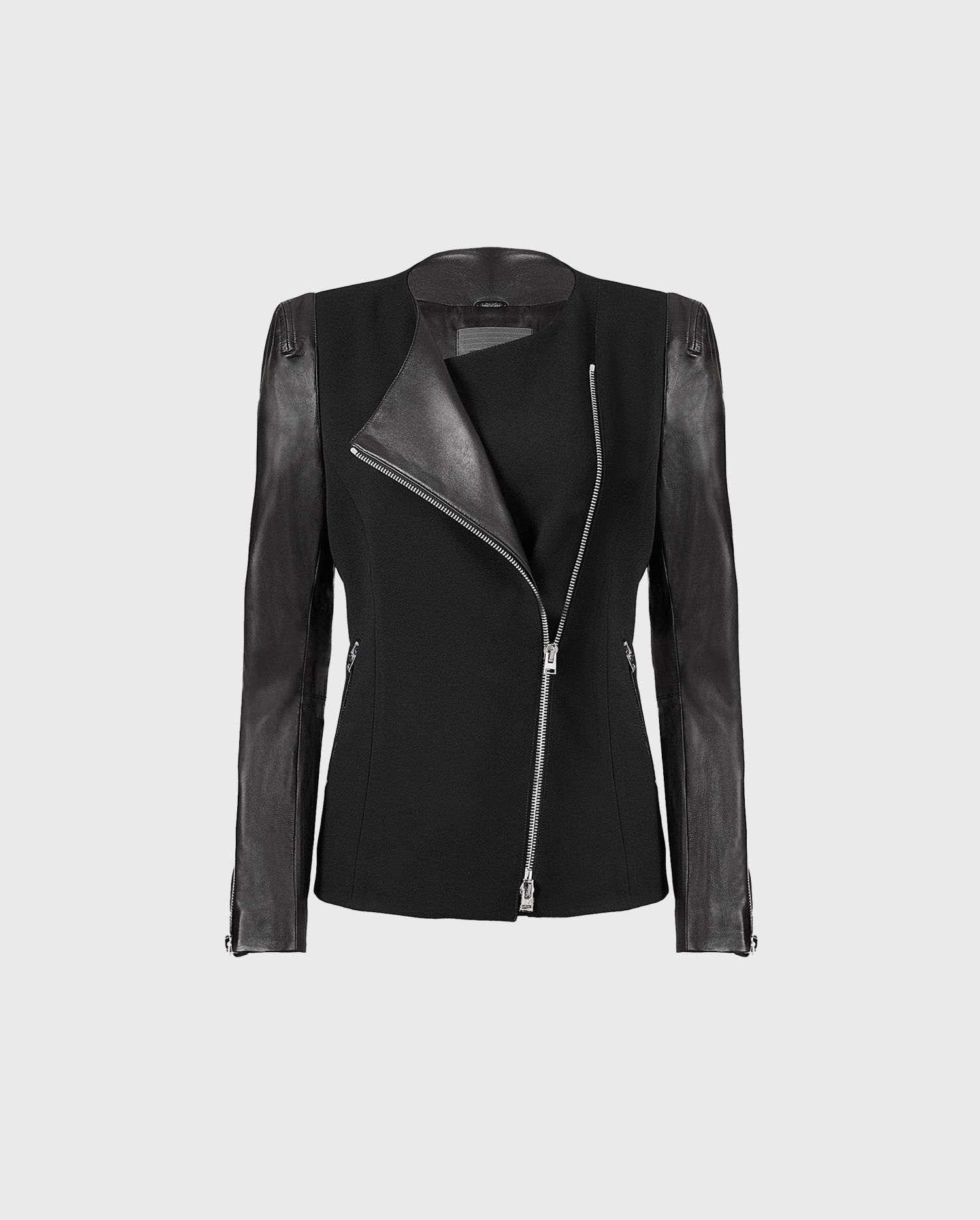 Add the FATINE black leather jacket your wardrobe for a chic and easy silhoutte that will showcase your great sense of style