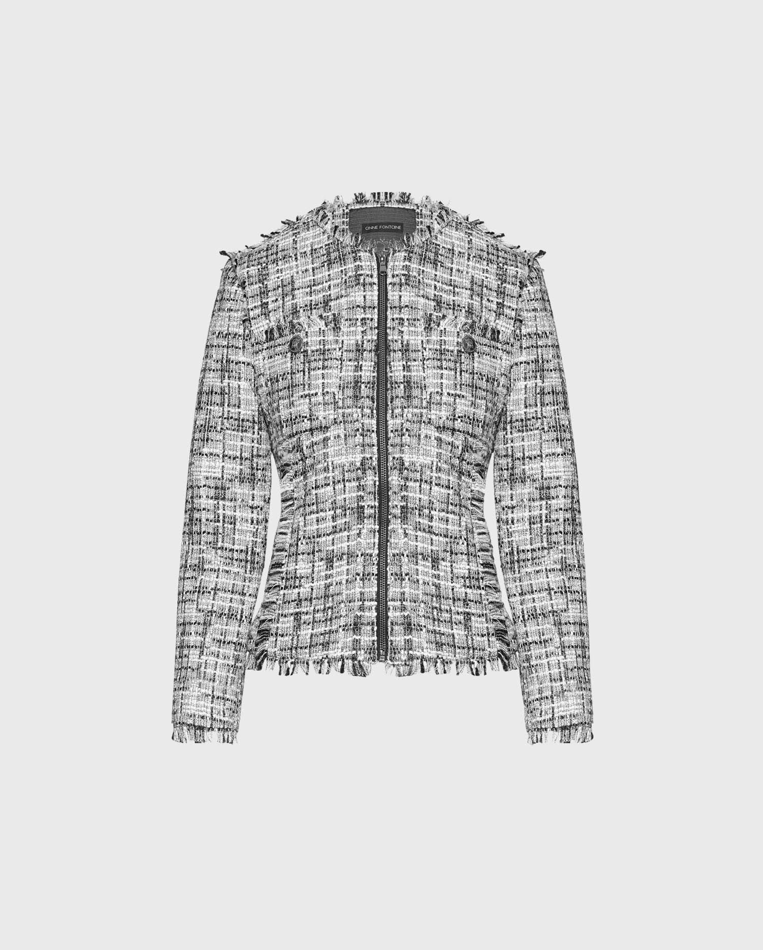 The FRANCOISE jacket is the perfect combination of chic and comfort - add this black and white tweed jacket your wardrobe