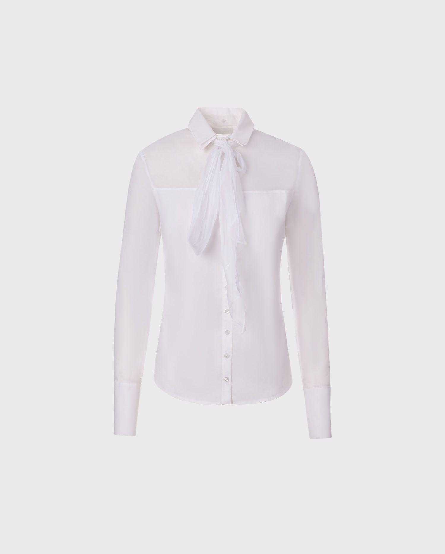 Anne Fontaine Laurentine Shirt: Poplin shirt with sheer organdy yoke and sleeves