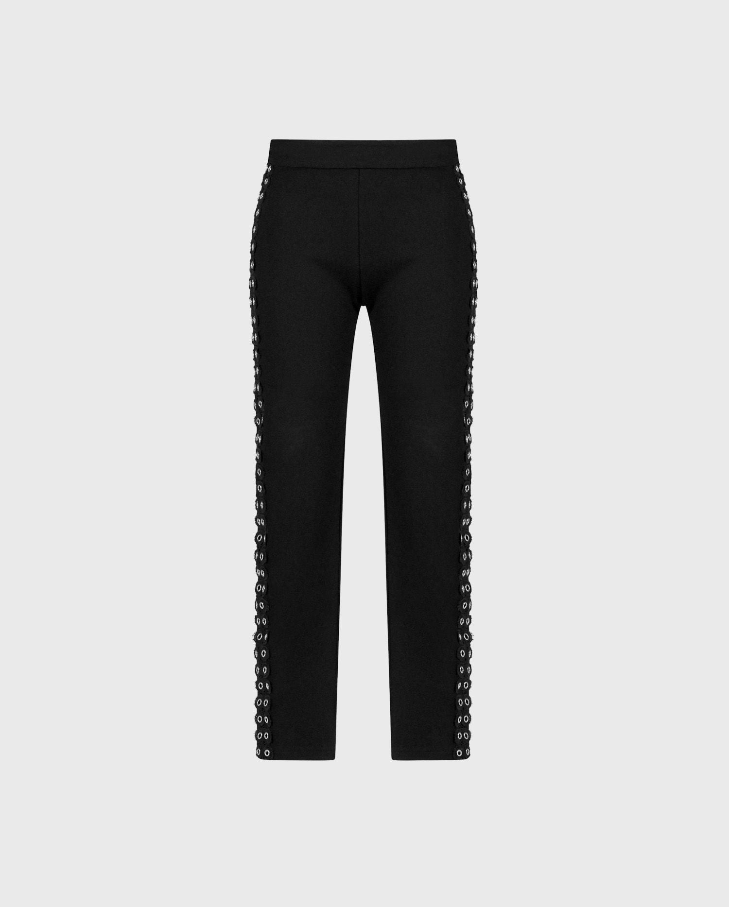 Anne Fontaine Lean Leggings: Stretchy milano leggings with silver grommet and lace details