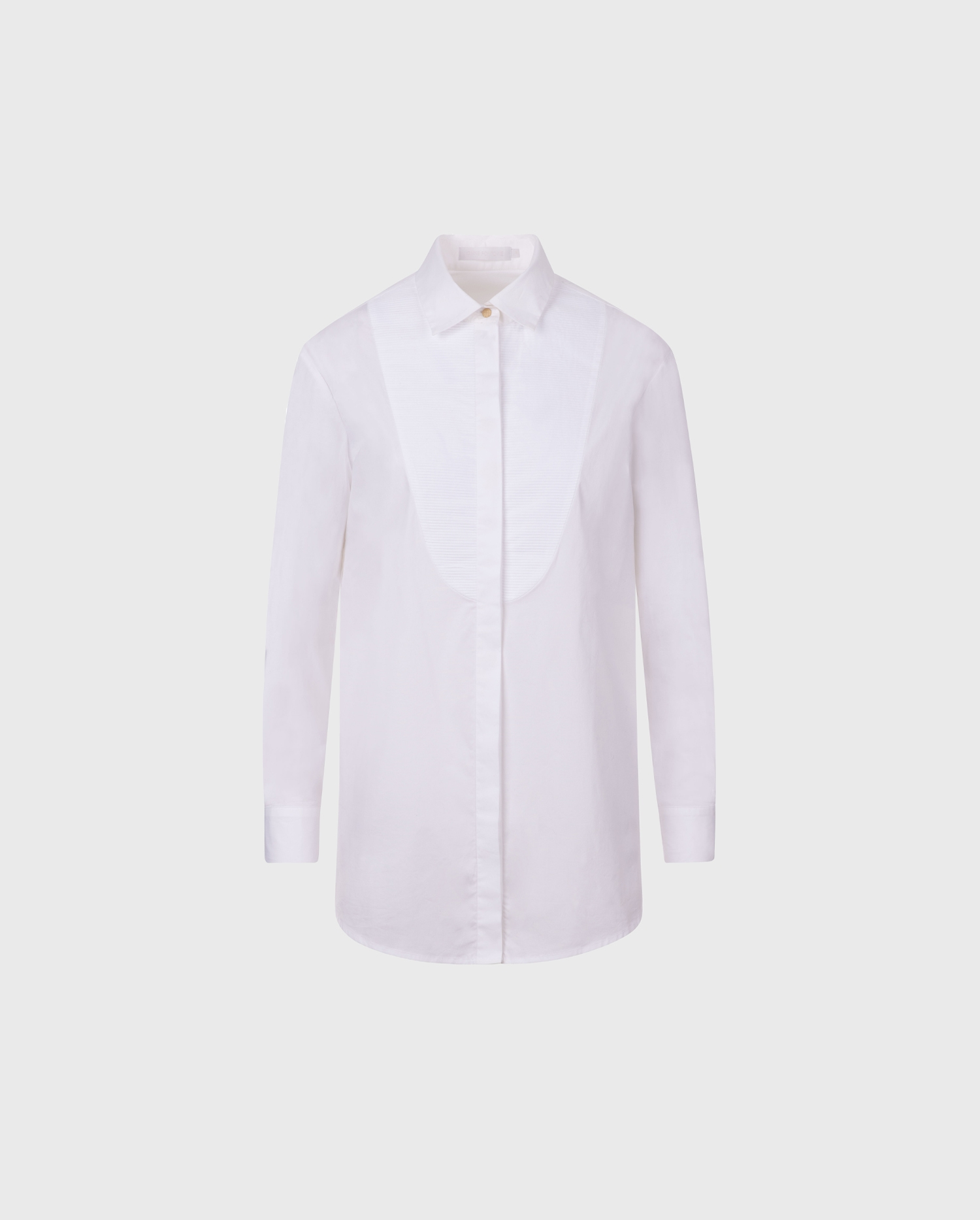 LEOZANE is the perfect oversized long sleeve white shirt, featuring a pleated bib front.