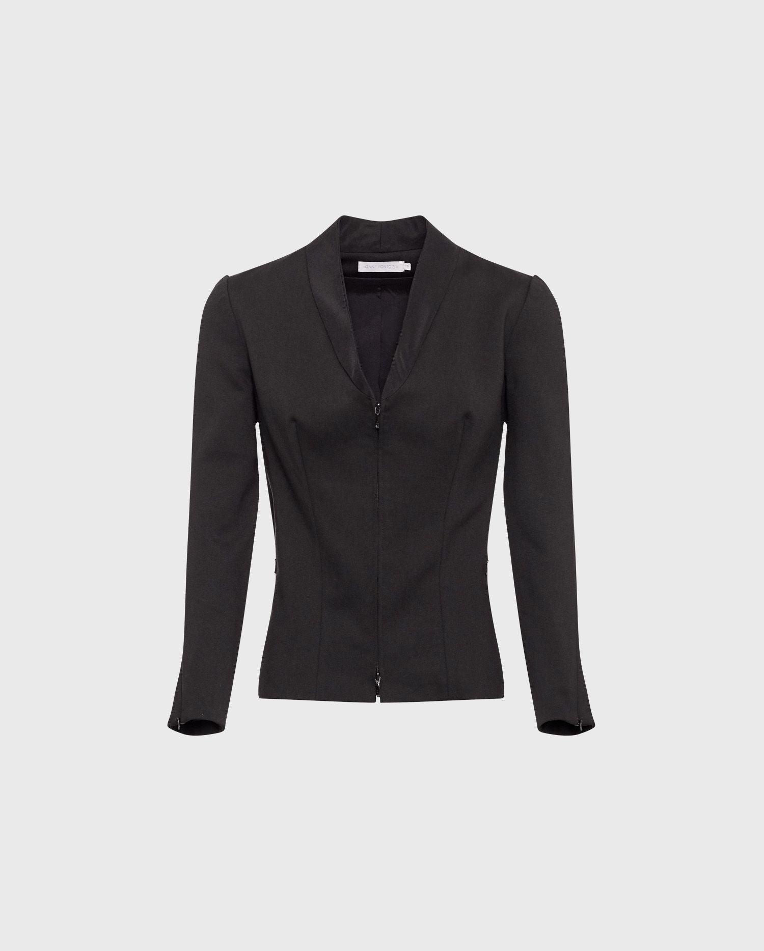Anne Fontaine LIAM Jacket: Black mock shawl collar jacket