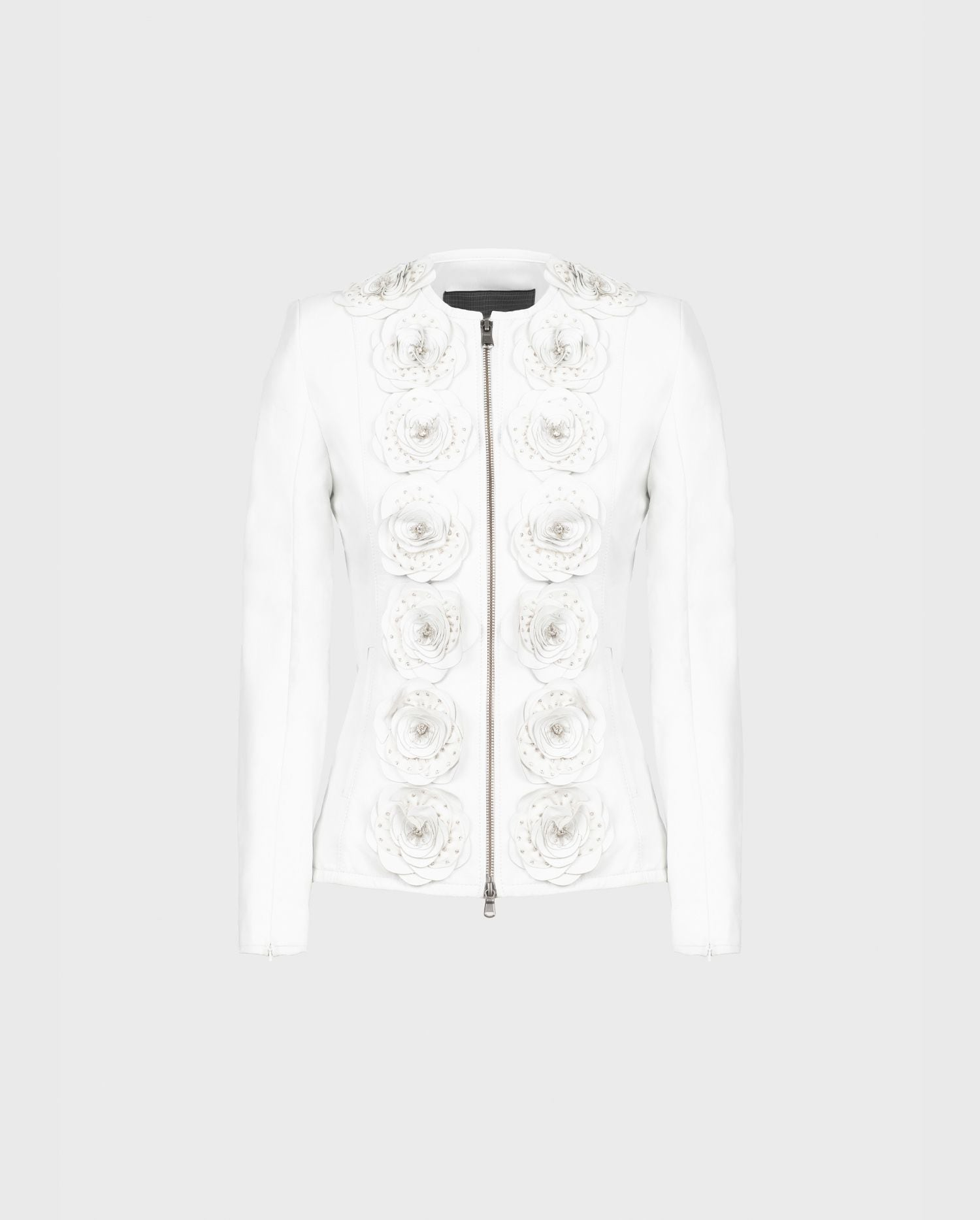 The LORYNA white leather jacket with floral detail is the perfect additional to your rocker chic style.