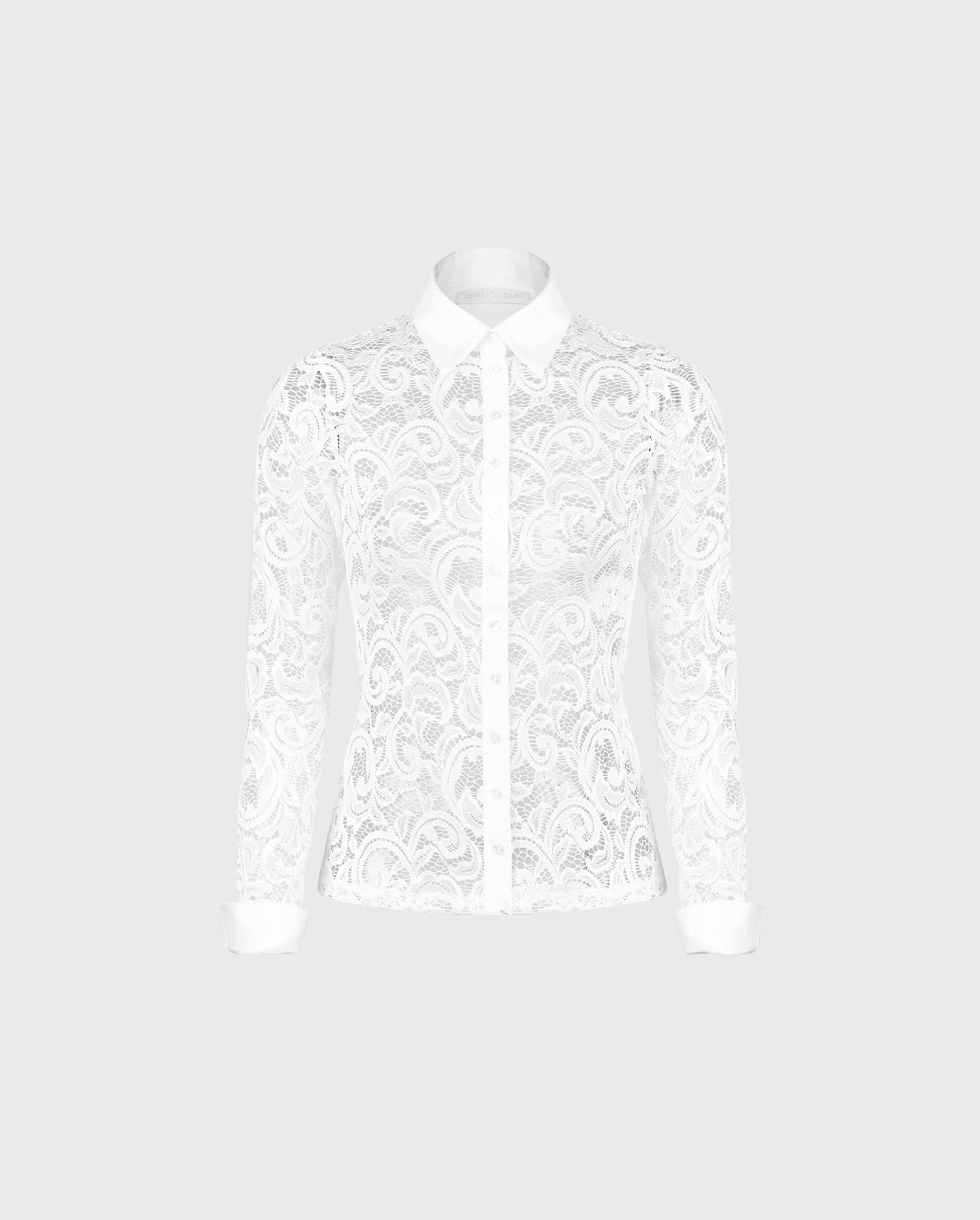 Add the intricate lace button down long sleeve white shirt, LYS to your wardrobe for a chic and sensual look.