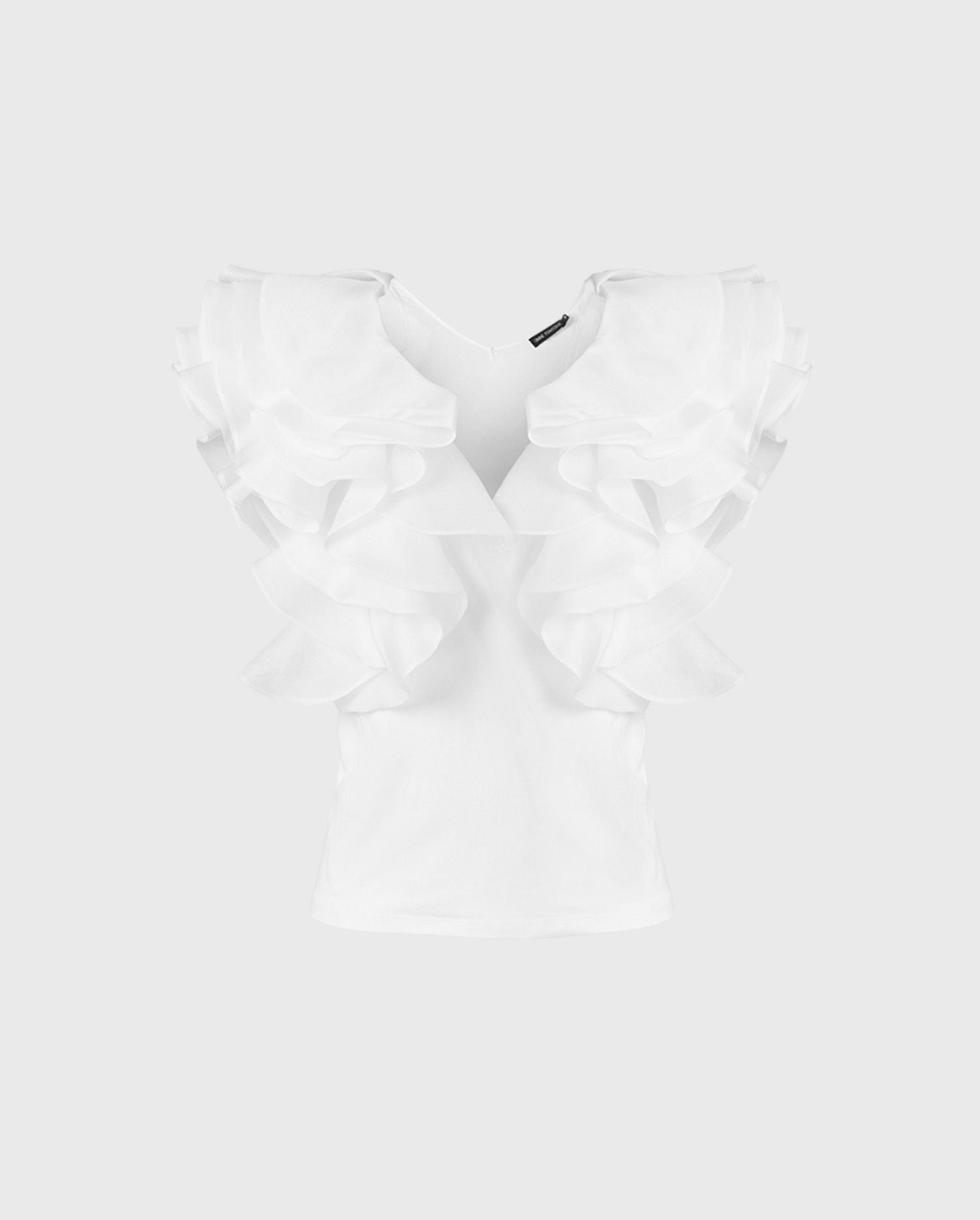 The NATALENA statement white ruffle sleeve top is the perfect style to add to your Parisian chic wardrobe