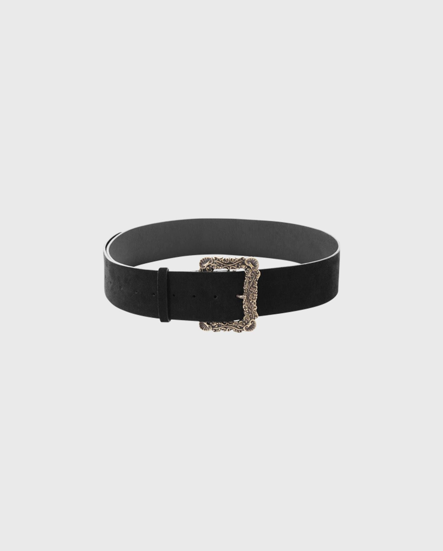 Add the OCONOR leather belt with baroque metal antique detailing to your wardrobe