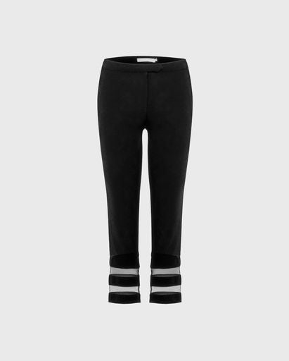 ANNE FONTAINE: PALASCA Pants: Black ankle crop trousers with tulle stripes