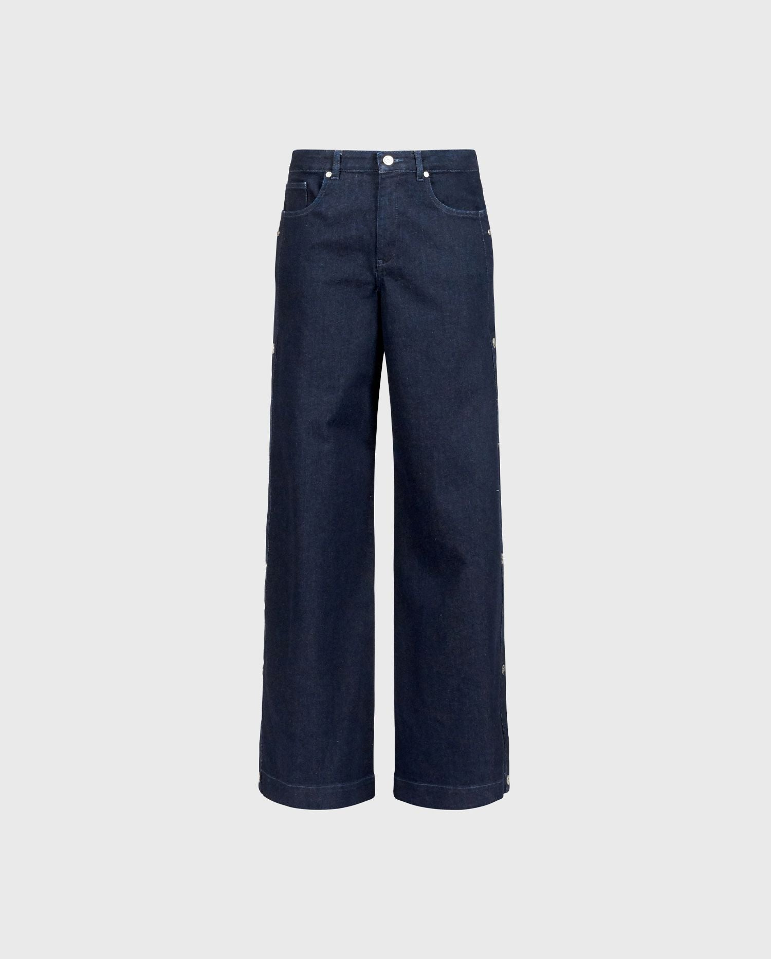 ANNE FONTAINE: PRESLEY - P20 Jeans: Dark washed jeans with snaps along the side