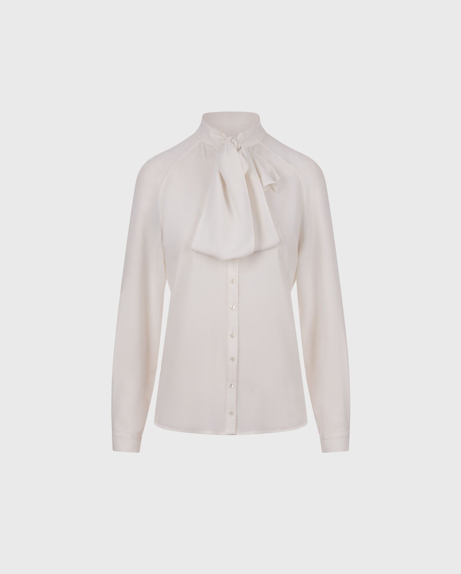 Anne Fontaine: SANTANA: Crepe shirt with knotted tie collar