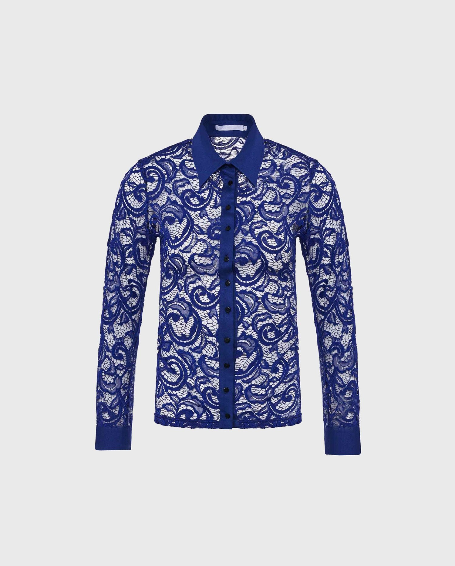 The LYS-Ultra Blue lace button down shirt adds a dose of chic to your wardrobe.