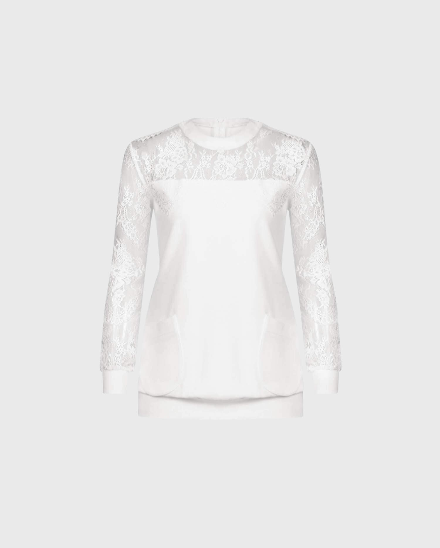 The UZEL is a casual inspired white long sleeve sweatshirt with an abstract floral lace yoke.