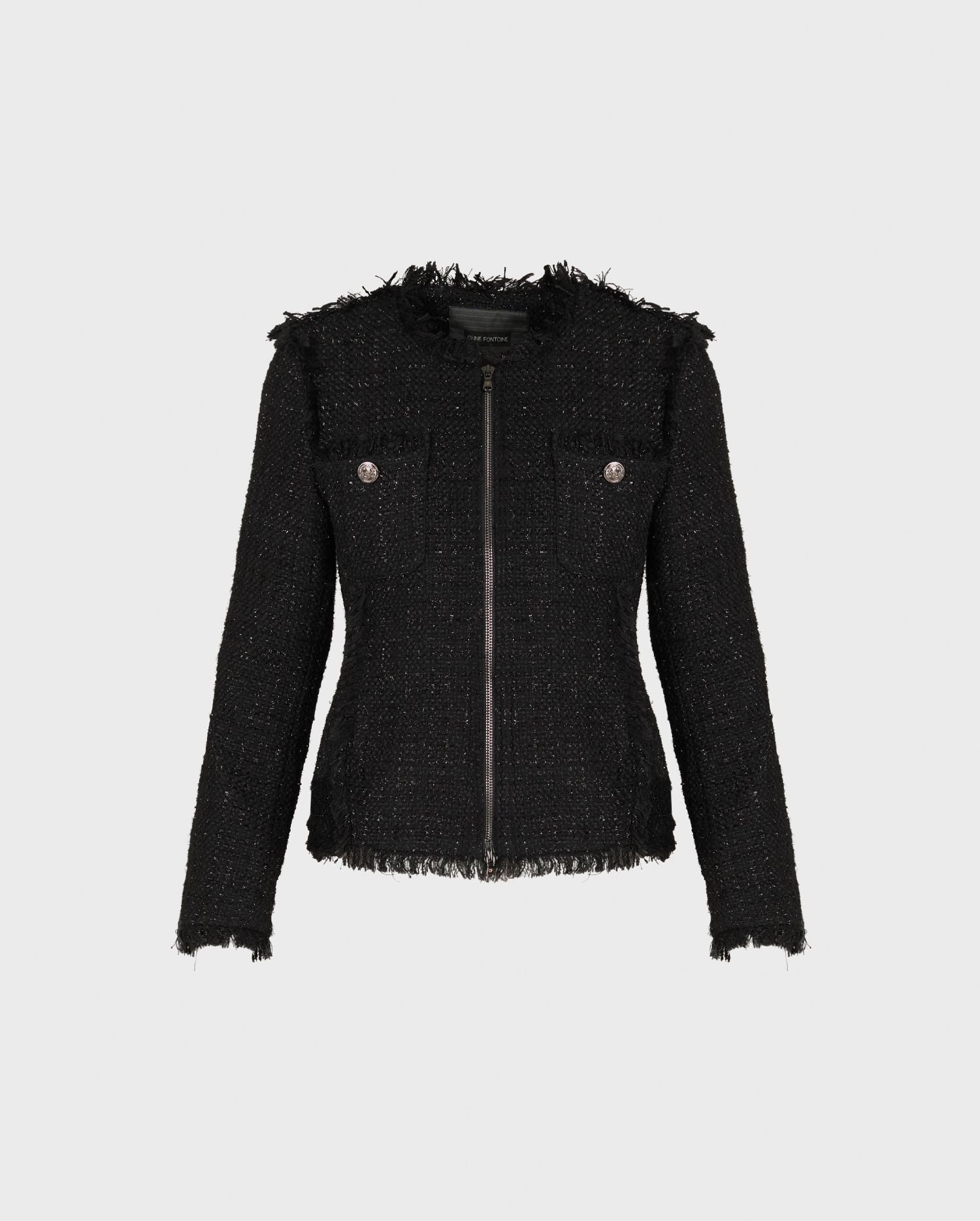 The VALSE black tweed jacket will see you through the season is looks of grace and effortless chic